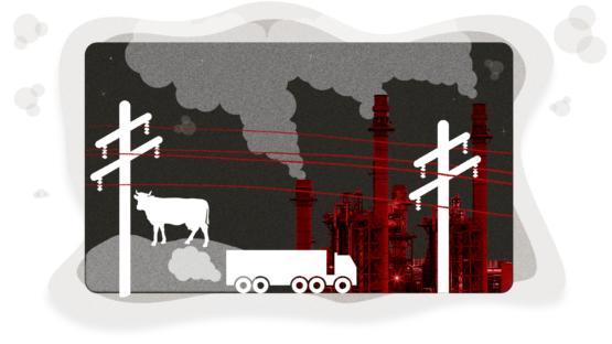 Illustration with power lines, a cow, a truck and a power plant. Gas clouds are coming out of the truck and power plant.