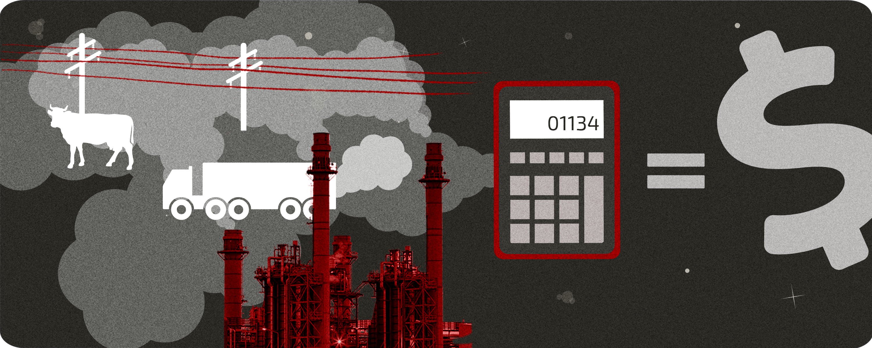 Abstract image with power lines, a truck, a cow and a power plant on the left. On the right is an equal sign with a calculator and a dollar sign on either side.