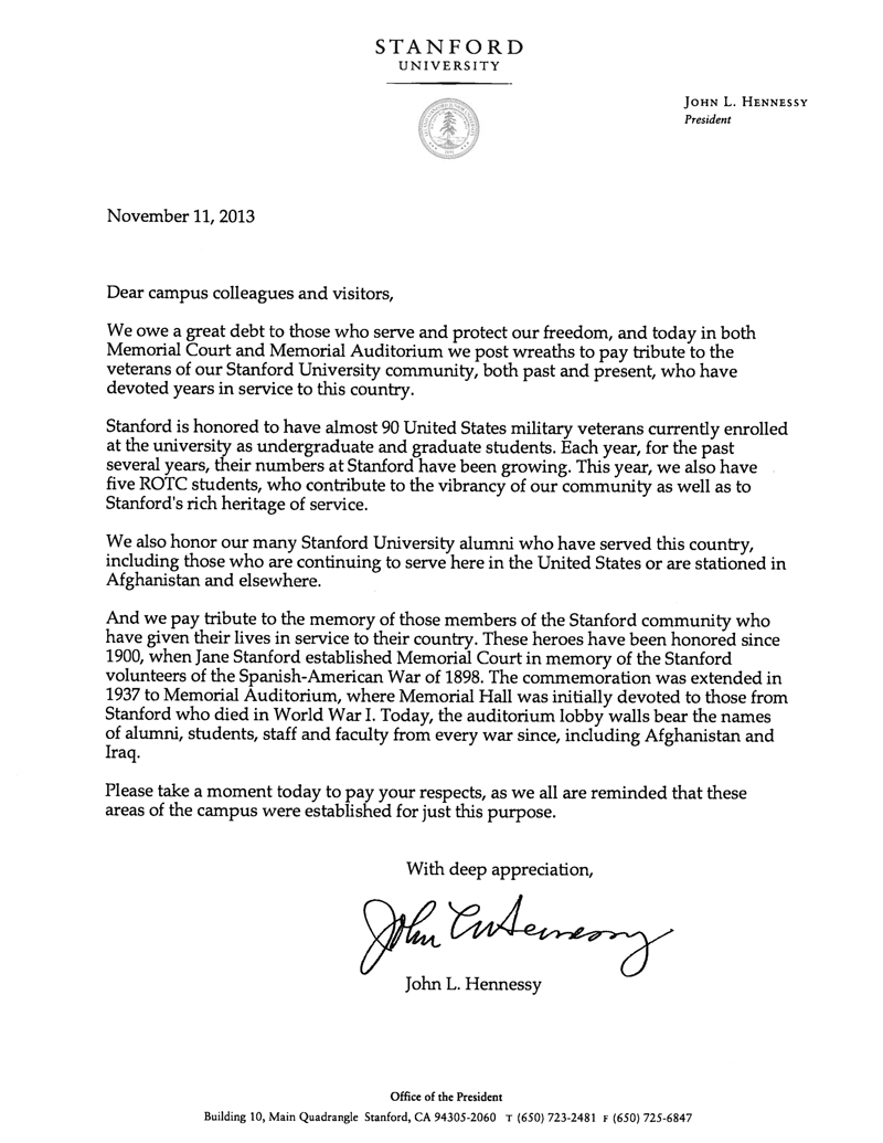 stanford acceptance letter stanford president honors veterans the dish 50454