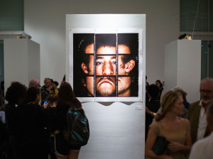 Arresting exhibit of a face at the Stanford Art Gallery