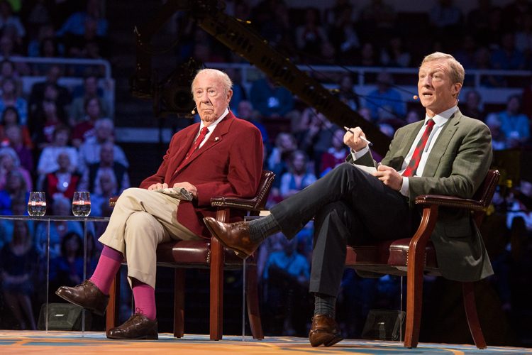 Photo of George Shultz and Tom Steyer