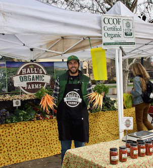 Stevie Hall of Hall's Organic Farms is one of the vendors selling produce at the new farmers' market at Tresidder Union on Tuesdays.