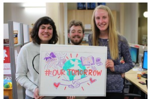 Stanford students supporting Our Tomorrow civic engagement campaign