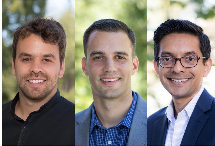 SLAC's 2017 DOE Early Career Award winners, from left: Frederico Fiuza, Emilio Nanni and Zeeshan Ahmed. (Dawn Harmer/ SLAC National Accelerator Laboratory)