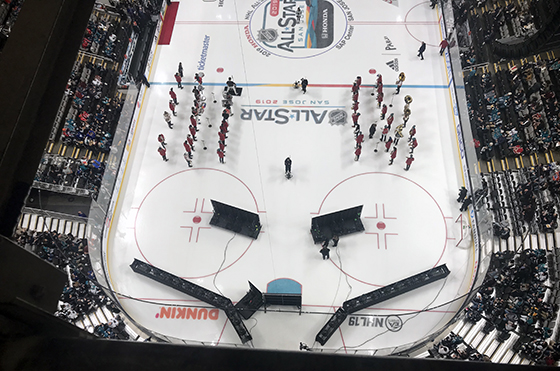 Stanford Band on ice