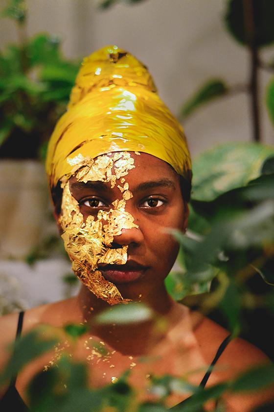 Quarantine Birthday Portrait in Gold