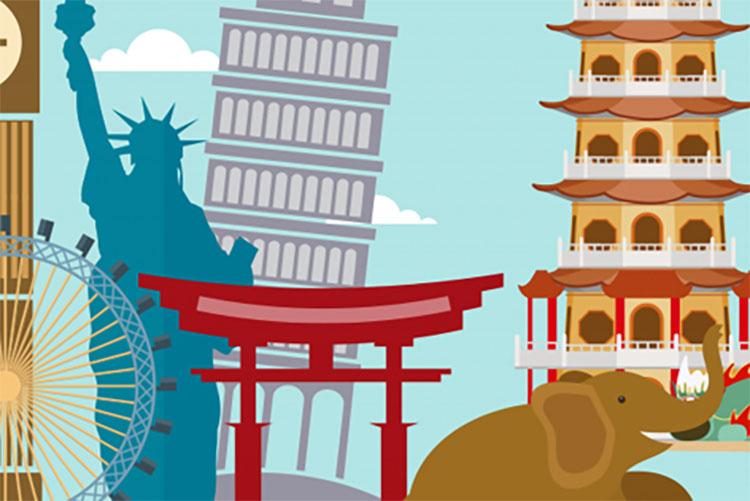 Illustration of iconic international buildings