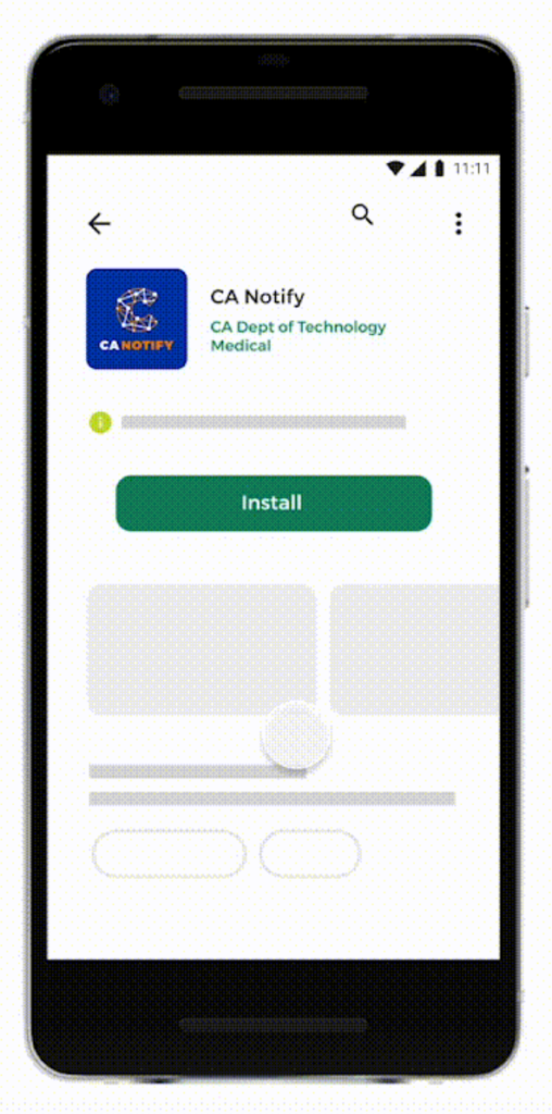Android phone screen displaying CA Notify install button