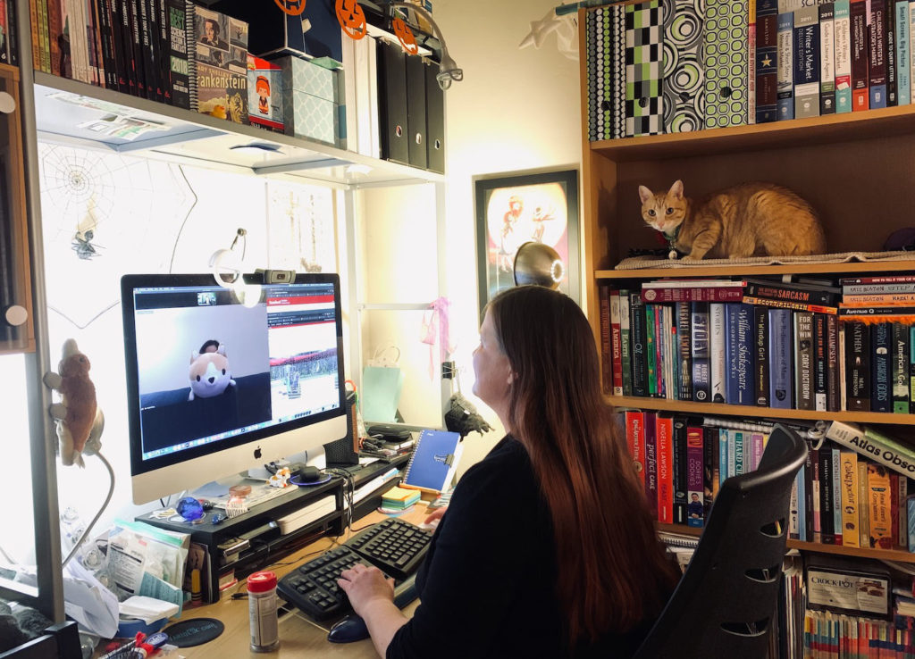 Melissa Stevenson at her computer in a home office. Cat sits on bookshelf nearby