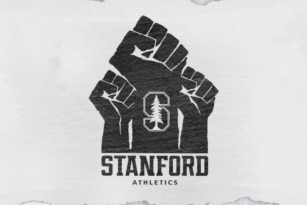 Logo for CardinalBLCK, featuring three raised black fists and the Stanford S in the middle with the words 'Stanford Athletics' underneath.