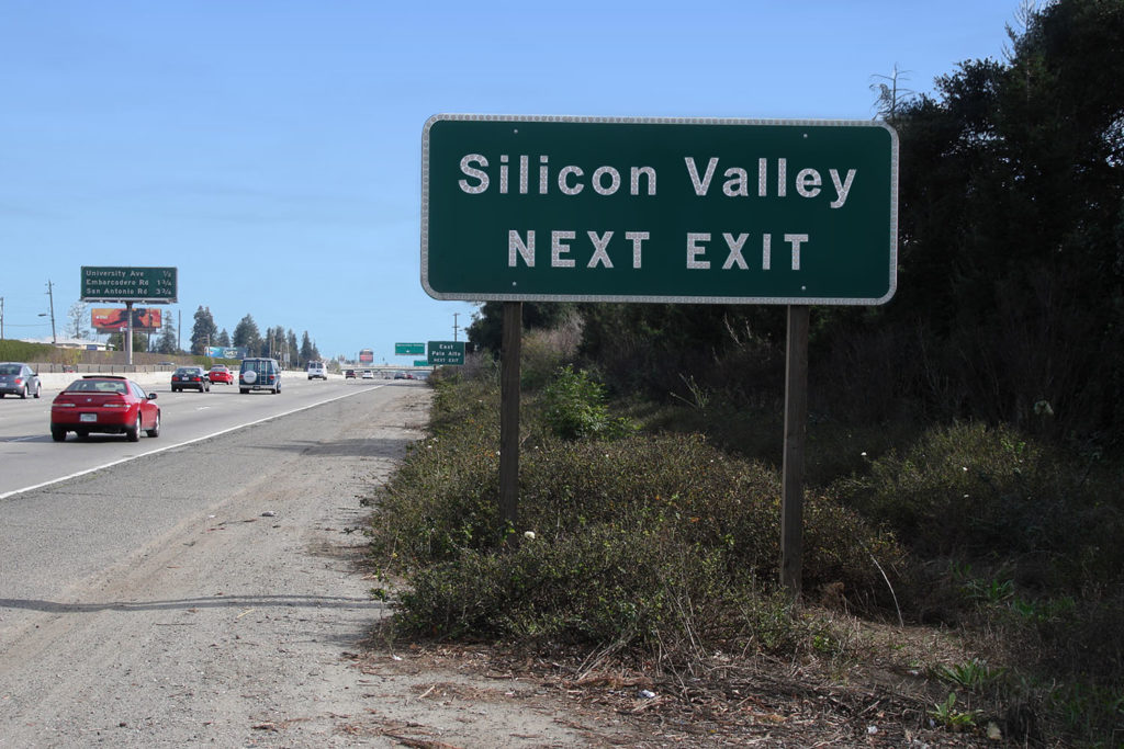 Highway sign reading Silicon Valley next exit