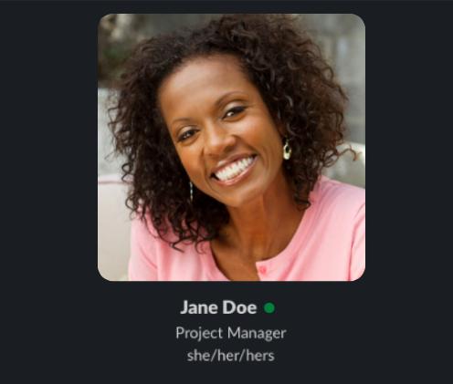 Slack profile image with pronouns listed