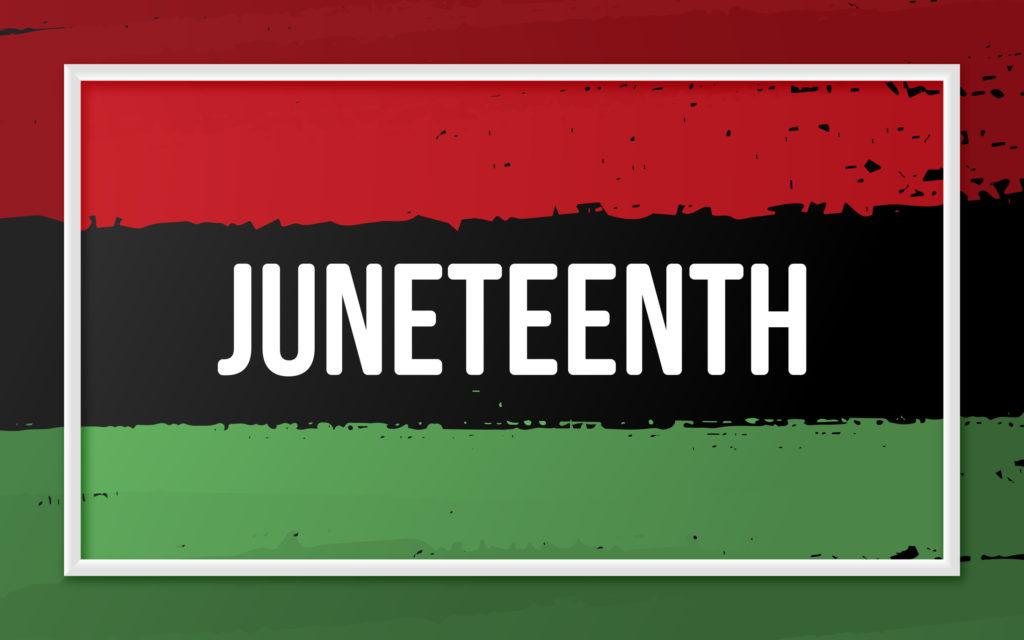 Juneteenth over red/black/green stripes