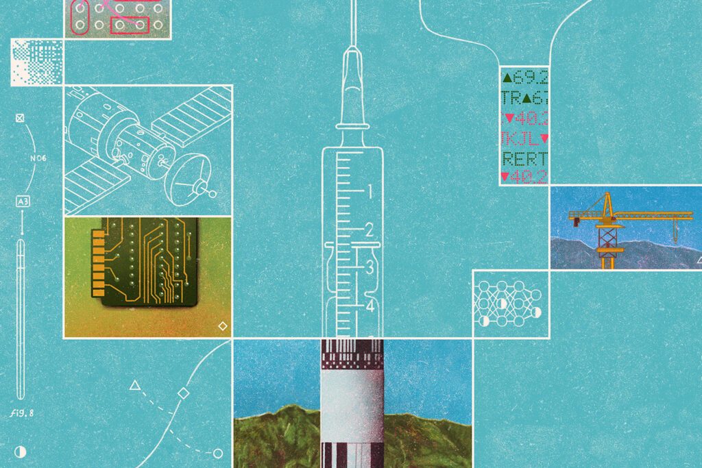 Line art illustration of various intersecting graphics: a satellite, a computer chip, a rocket ship and medical needle, a crane, and small detailed diagrams.